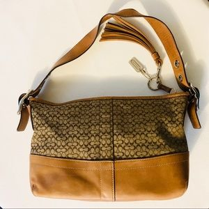 Coach shoulder bag purse tan with tassel